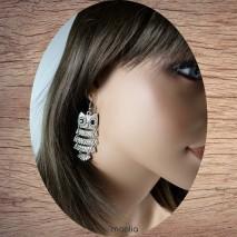 Boucles d'oreilles chouette articulée argent
