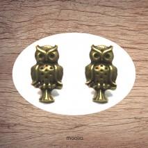 Boucles d'oreilles bronze petite chouette