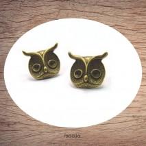 Boucles d'oreilles bronze tête de chouette
