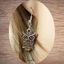 Boucles d'oreilles chouette argentée