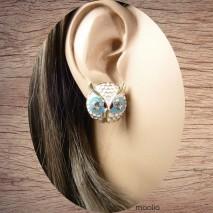 Boucles d'oreilles tête de chouette gros yeux bleus