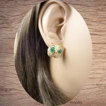 Boucles d'oreilles tête de chouette petits yeux verts