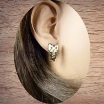 Boucles d'oreilles petite chouette émaillée blanche