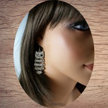 Boucles d'oreilles chouette articulée bronze
