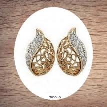 Boucles d'oreilles feuille cristal argent ou doré
