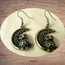 Boucles d'oreilles chouette et lune