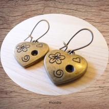 Maolia - Boucles d'oreilles coeur fleuri