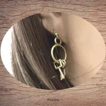 Maolia - Boucles d'oreilles anneau et petites clés