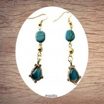 Maolia - Boucles d'oreilles pierres bleues et dorées