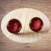 Maolia - Boucles d'oreilles cabochon rouge étoiles