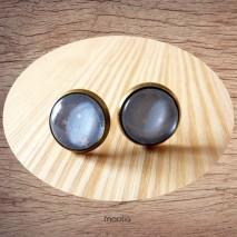 Maolia - Boucles d'oreilles cabochon bleu étoiles