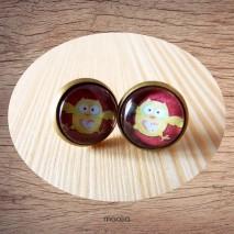 Boucles d'oreilles cabochon chouette jaune et rouge