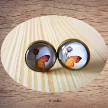 Maolia - Boucles d'oreilles cabochon papillon orange