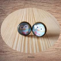 Maolia - Boucles d'oreilles cabochon chouette bleue