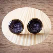 Maolia - Boucles d'oreilles cabochon ciel gris noir étoilé