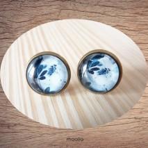 Maolia - Boucles d'oreilles cabochon feuillage bleu foncé