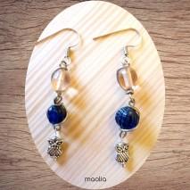 Maolia - Boucles d'oreilles roses et bleues
