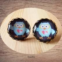 Boucles d'oreilles cabochon chouette bleue