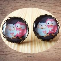 Maolia - Boucles d'oreilles cabochon duo de chouettes