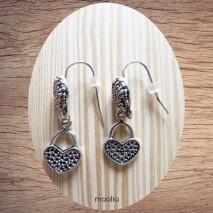 Maolia - Boucles d'oreilles sac forme coeur