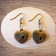 Maolia - Boucles d'oreilles coeur fleuri ouvertes