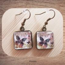Maolia - Boucles d'oreilles cabochon carrée papillon noir et rouge