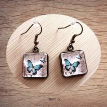 Maolia - Boucles d'oreilles cabochon carrée papillon bleu