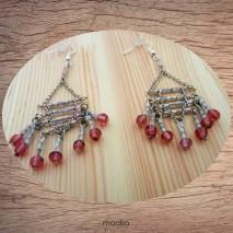 Maolia - Boucles d'oreilles perles de verre roses