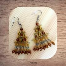 Maolia - Boucles d'oreilles perles de verre brunes orangées