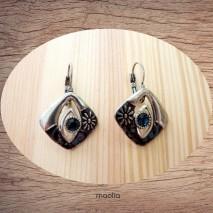 Maolia - Boucles d'oreilles argent vieilli ton bleu