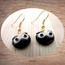 Maolia - Boucles d'oreilles chouette blanche et noire