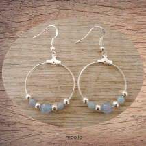 Maolia - Boucles d'oreilles créoles perles cristal bleues