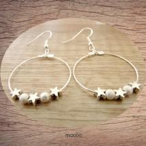 Maolia - Boucles d'oreilles créoles petites étoiles