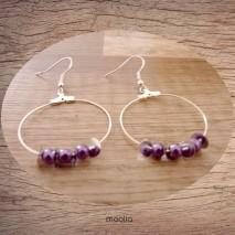 Maolia - Boucles d'oreilles créoles perles mauves