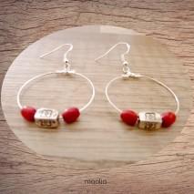 Maolia - Boucles d'oreilles créoles rouges et argent