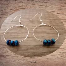 Maolia - Boucles d'oreilles créoles bleues cristal