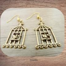 Maolia - Boucles d'oreilles cage dorée