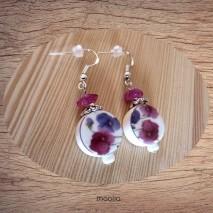 Maolia - Boucles d'oreilles céramique blanche et rose