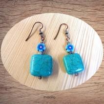 Maolia - Boucles d'oreilles turquoise carrée bleue
