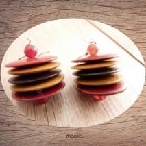 Maolia - Boucles d'oreilles perle coco rouge et ocre