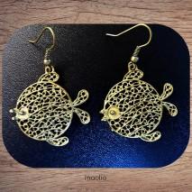 Boucles d'oreilles poisson lune bronze