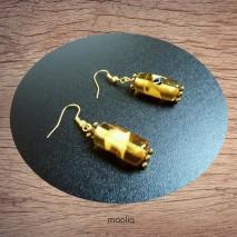 Boucles d'oreilles perle de verre tube