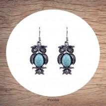 Boucles d'oreilles chouette turquoise argent