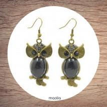Boucles d'oreilles chouette bronze et noire