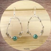 Boucles d'oreilles perles bleues et argent 3 fils