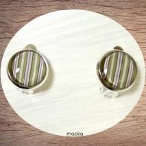 Boucles d'oreilles clips argent rayures pastel