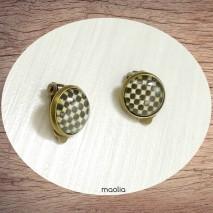 Boucles d'oreilles clips bronze damier marron beige