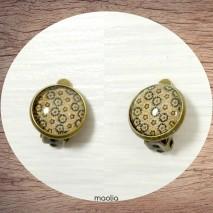 Boucles d'oreilles clips bronze fleurs marron beige