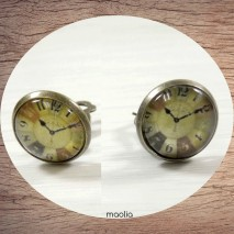 Boucles d'oreilles clips bronze montre multicolore
