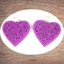 Boucles d'oreilles coeur bois couleur au choix